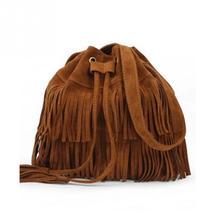 цена JIULINRetro Faux Suede Fringe Women Bag Messenger Bags New Handbag Tassel Shoulder Handbags Crossbody Gift онлайн в 2017 году