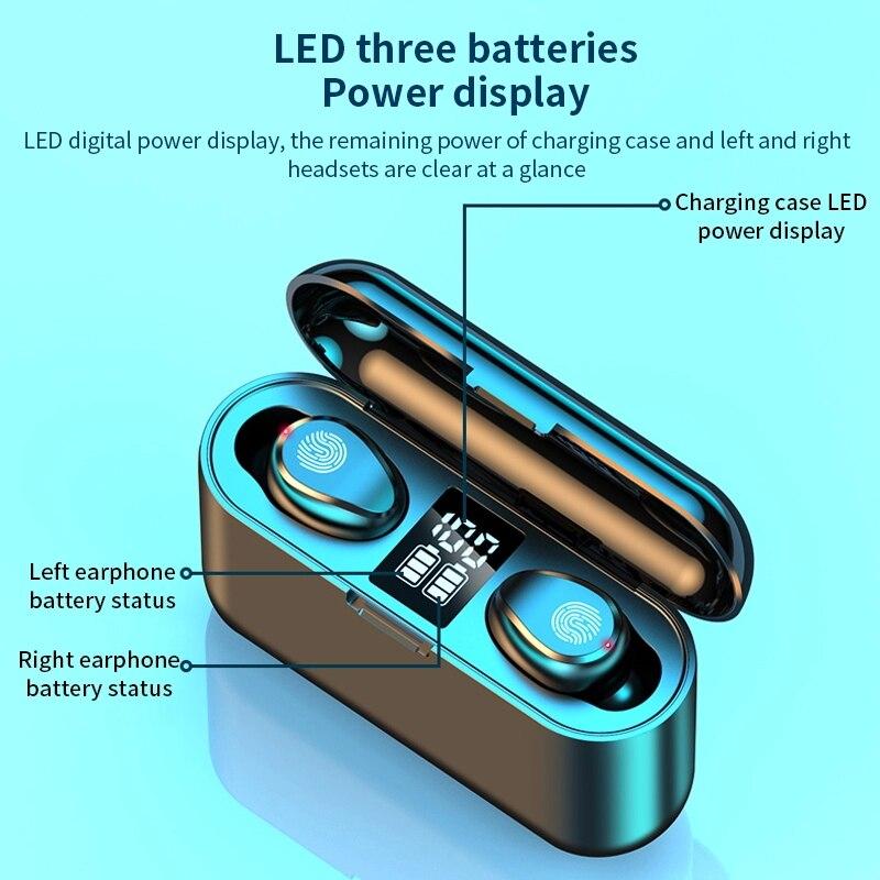 Новинка F9 TWS Bluetooth наушники беспроводные наушники спортивные наушники стерео Бас шумоподавление Гарнитура вкладыши с зарядным боксом
