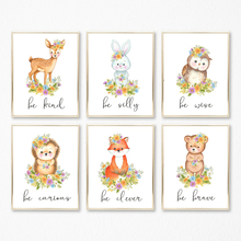 Cartoon Deer Rabbit Fox Flower Nursery Wall Art Canvas Painting Nordic Posters And Prints Pictures Girl Boy Kids Room Decor