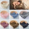 Хлопковое шерстяное вязаное крючком детское одеяло реквизит для фотосъемки новорожденных корзина для съемки наполнитель крупный вязаный ...