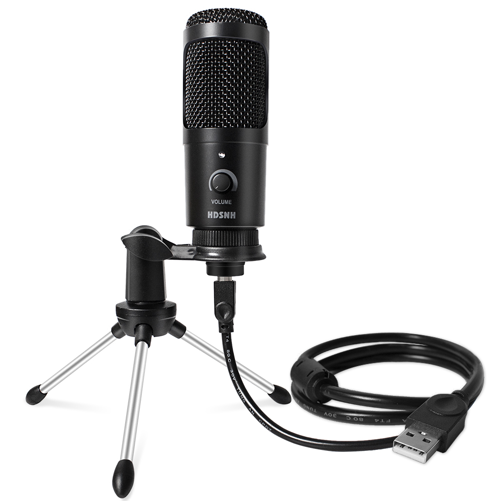 Metal USB Microphone Condenser Recording Microphone D80 Mic with Stand for Computer Laptop PC Karaoke Studio Recording