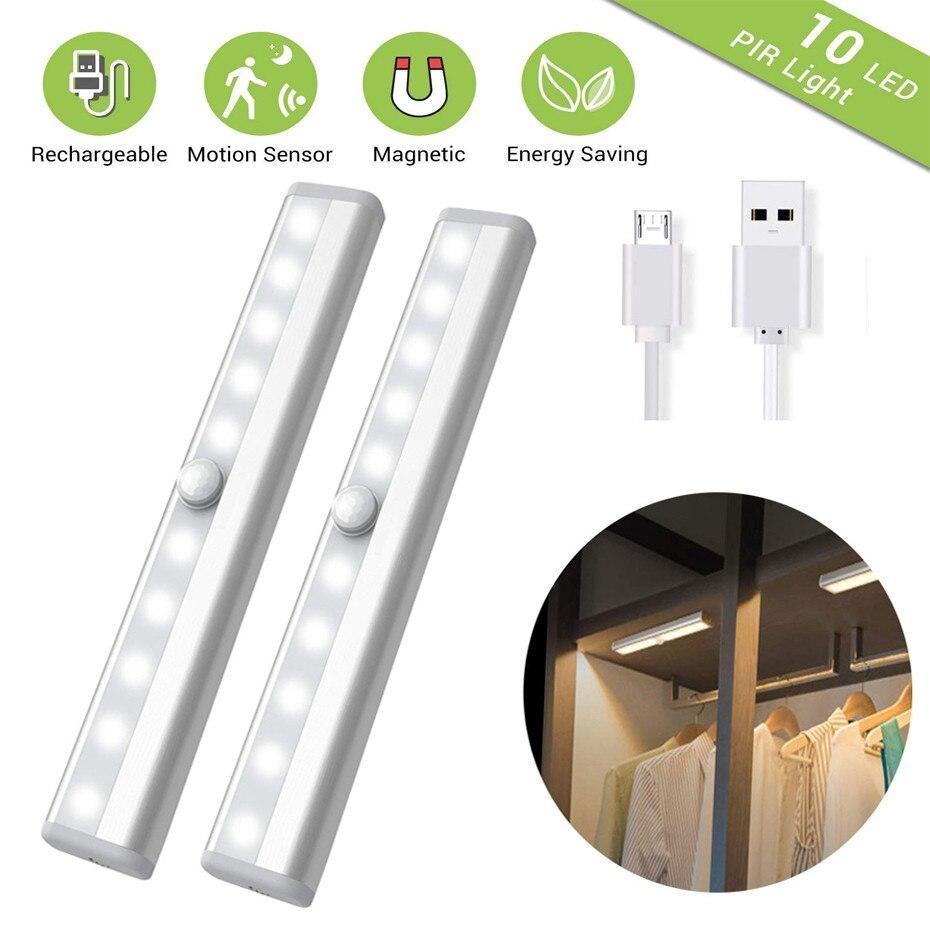 Pir sob a luz do armário usb recarregável sensor de movimento luzes do armário sem fio magnético vara-on sem fio 10 led barra de luz noturna