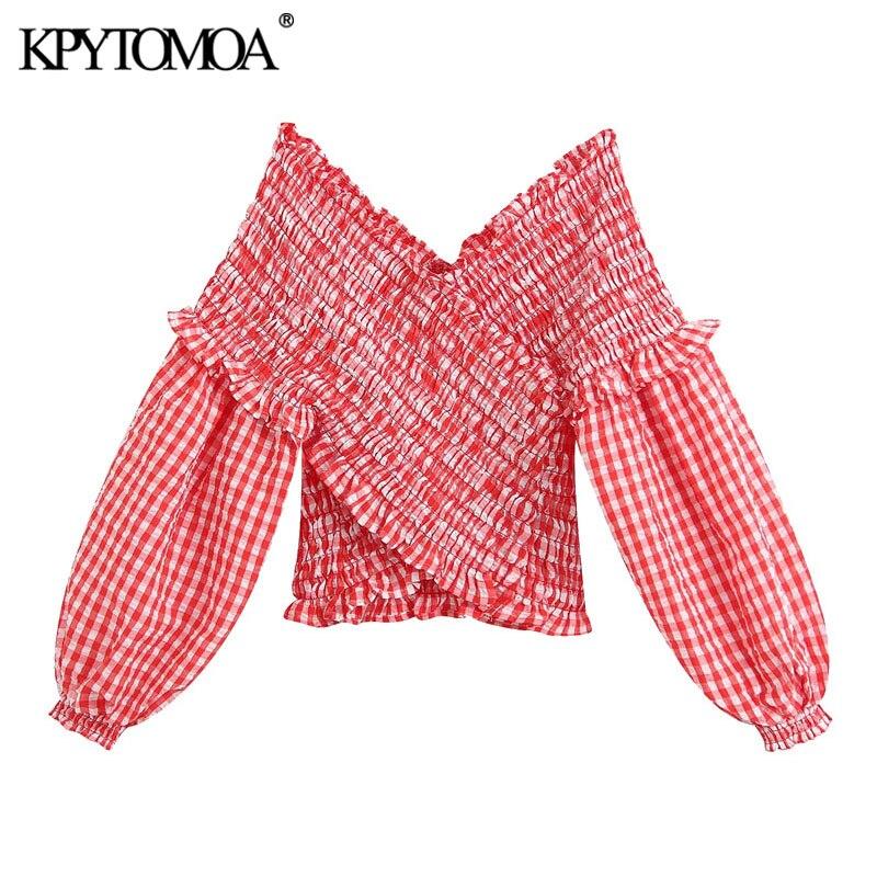 KPYTOMOA Women 2020 Sweet Fashion Smocked Elastic Plaid Cropped Blouses Vintage V Neck Long Sleeve Female Shirts Blusa Chic Tops