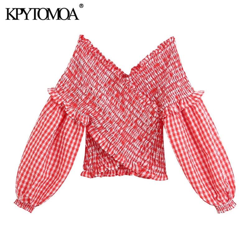 Kpytomoa blusa feminina cropped elástica, gola em v manga comprida feminina vintage 2020