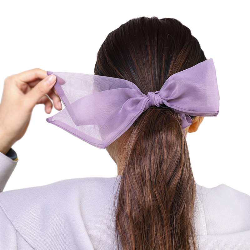 Fashion Korea Scrunchies Organza Bow Knot Hair Rope Ponytail Holder Solid Color Hair Bands Hair Accessories For Women Headwear
