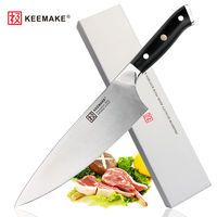 SUNNECKO KEEMAKE 8 inch Professional Chef Knife Liquid Metal 65HRC Blade G10+S/S Handle Kitchen Knives Cooking Tools
