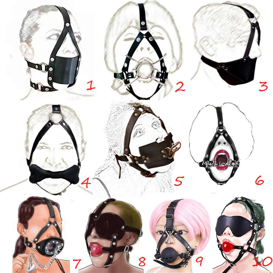 Leather Mouth Gag Harness,Full Head Harness Mouth Mask Gag, Muzzle Bondage Restraint ,Adult Sex Toys