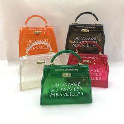 Sacos de pvc transparente sacos de ombro para mulheres bolsas de design de luxo senhora sacos carta impressão feminina moda sacos 18 cores