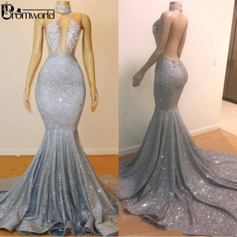 Bling Silver Mermaid Prom Dresses Long 2019 Jewel Neck Beads Crystals Sexy Backless See Through Evening Gown Party Wear