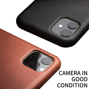 Image 4 - QIALINO Genuine Leather Slim Phone Case for iPhone 11/12 Mini Fashion Handmade Anti knock Back Cover for iPhone 11/12 Pro Max