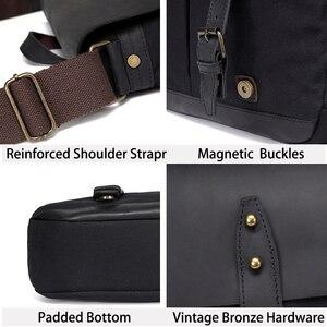 Image 4 - VASCHY Cowhide Leather Messenger Bag for Men Casual Laptop Briefcase Water Resistant Canvas Business Handbag Mens Travel Bag