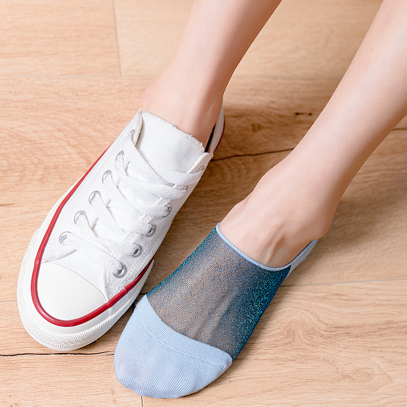 New Invisible Women Socks Slippers Spring Fashion Patchwork Invisible Socks Comfort Breathable Non-slip Deodorant Women's Socks