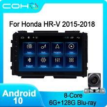 COHO para Honda Hrv 2015-2018 navegación Gps coche estéreo Autoradio Android 10,0 Octa Core 6 + 128G