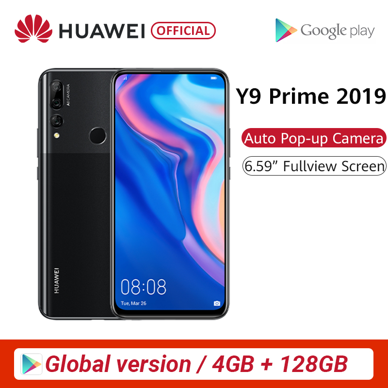 "Global Version Huawei Y9 Prime 2019 4GB 128GB Smartphone AI Triple Rear Cameras Auto Pop Up Front Camera 6.59"" Cellphone"