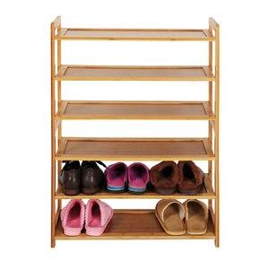 Домашняя 6-уровневая бамбуковая стойка для обуви, стойкая полка для обуви, прочный органайзер для хранения обуви, шкаф для обуви, цвет дерева...