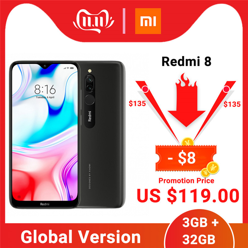 Global Version Xiaomi Redmi 8 3GB 32GB Smartphone Snapdragon 439 Octa Core 12MP Dual Camera 5000mAh Battery Cellphone