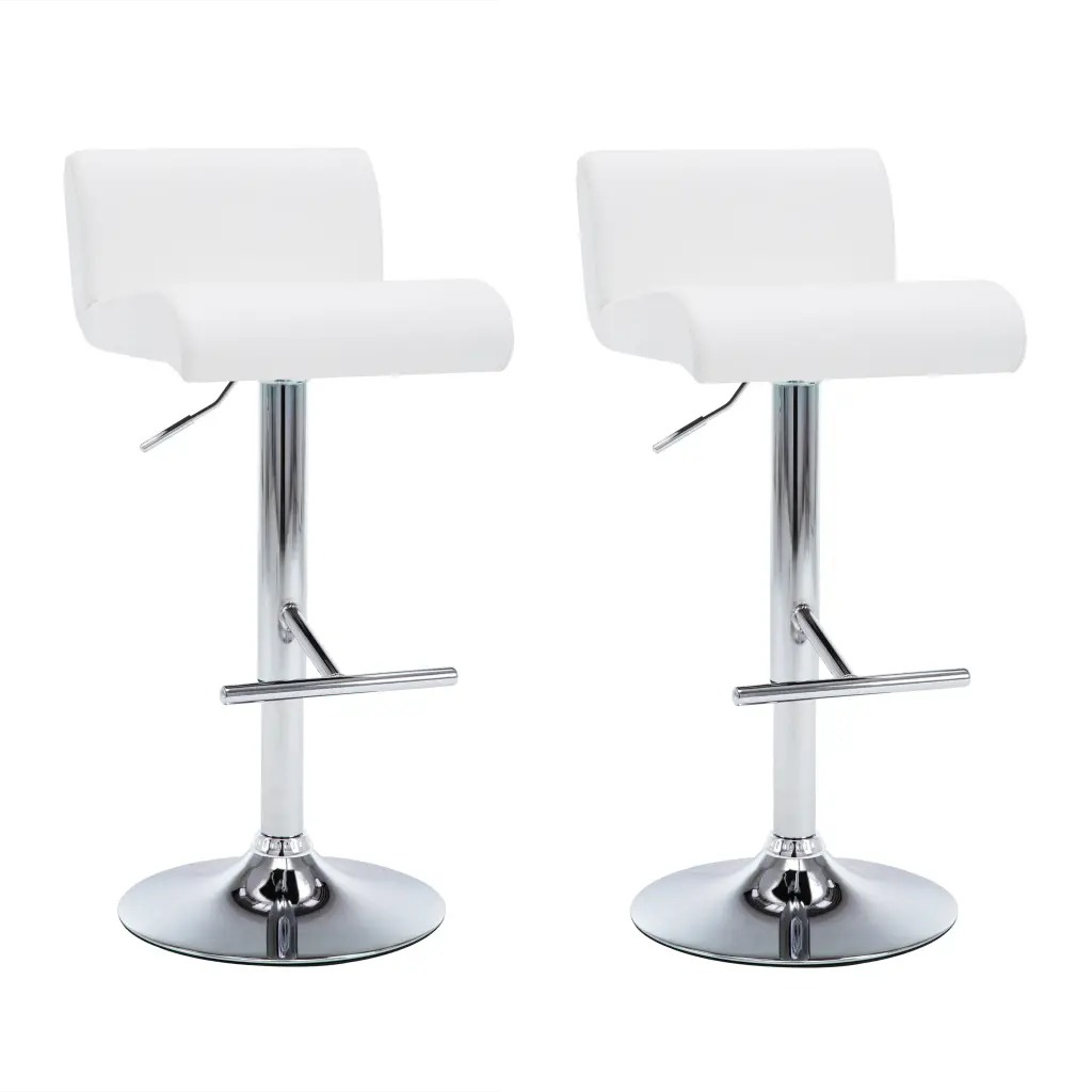 2 Pcs VidaXL Bar Chair Adjustable Height White Leatherette White Leather Covering Bar Furniture Steel Frame