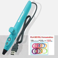 Myriwell USB Low Temperature Pen 3D Smart Pen Using Pcl Filament Magic Pens For Kids Chilren Creative Drawing Scribble Gifts