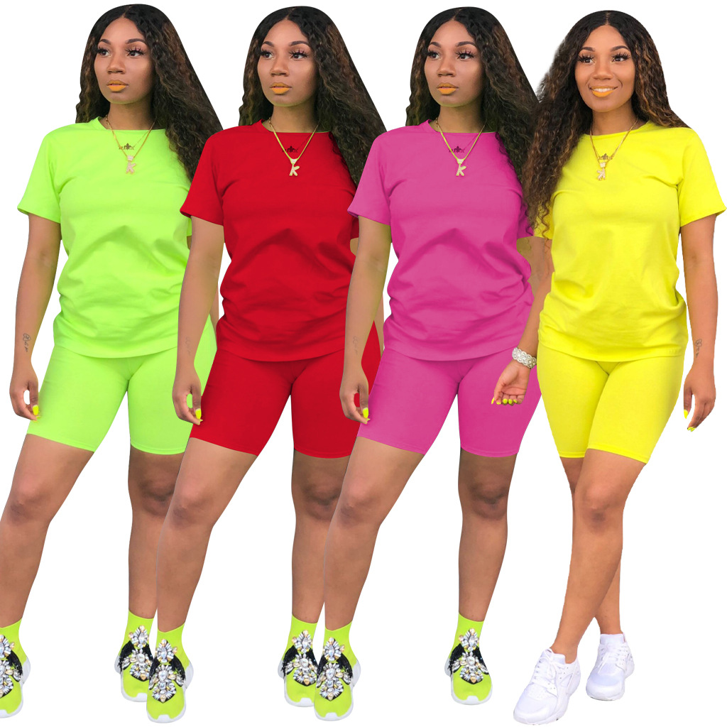 HAOYUAN 2 Piece Set Women Tracksuit Festival Clothing Neon Crop Top and Biker Shorts Sexy Club Outfits Two Piece Matching Sets-in Women's Sets from Women's Clothing