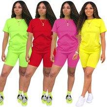 HAOYUAN 2 sztuka zestaw kobiety dres odzież festiwal Neon Crop Top i Biker spodenki Sexy klub stroje dwuczęściowe pasujące zestawy
