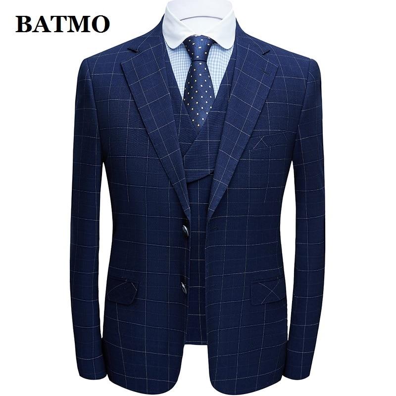 BATMO 2020 New Arrival High Quality Plaid Casual Suits Men,male Stage Clothes,jackets+pants+vest,1092