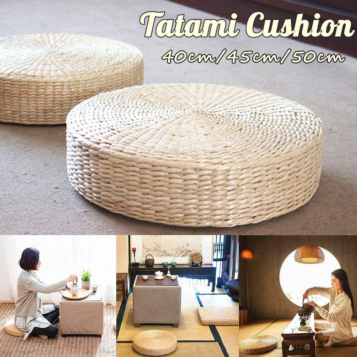 40/45/50cm Rattan Tatami Seat Cushion Sofas Round Floor Meditation Yoga Mat Chair Sitting Futon Cushion Tatami Buddha Pad