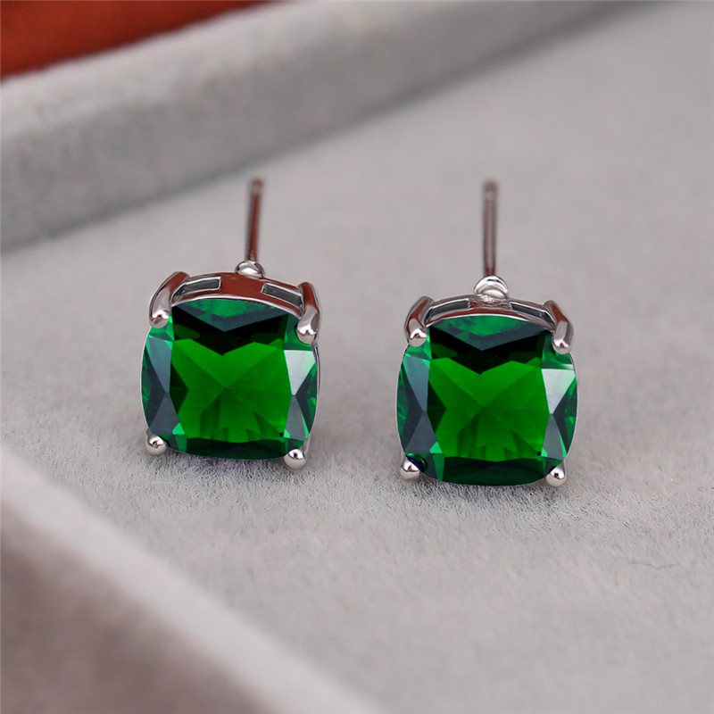 Simple Female Green Crystal Stone Earring Charm Silver Color Small Stud Earring Dainty Rainbow Square Wedding Earrings For Women