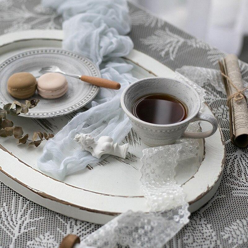 Plateau de rangement en bois Rural français rétro pastorale gâteau de fruits assiette à Dessert blanc ovale bijoux présentoir décor de bureau à la maison accessoire