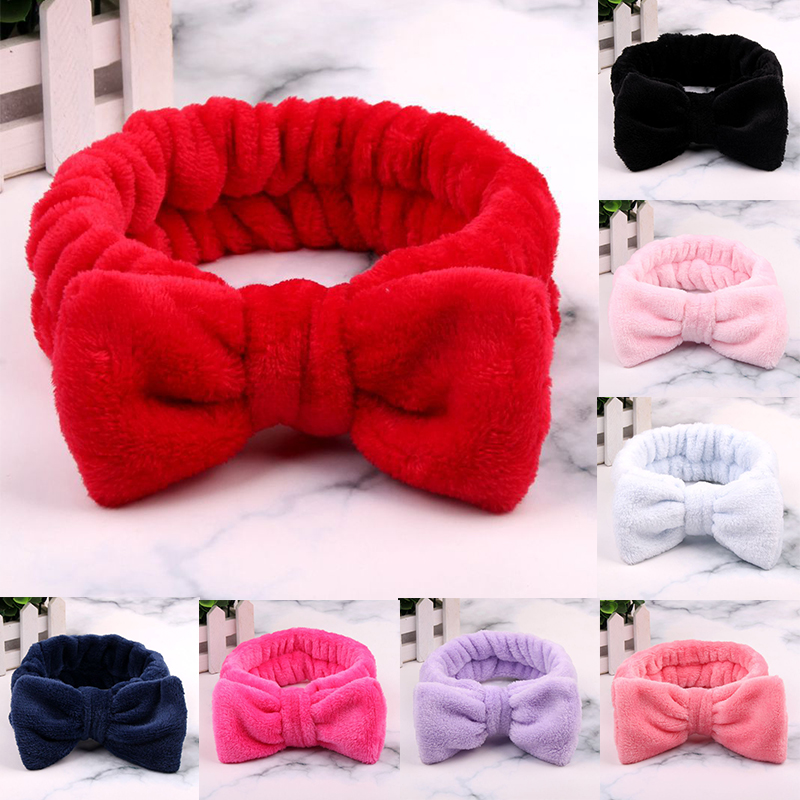 Coral Fleece Bow Hair Band Solid Color Wash Face Makeup Soft Headbands Fashion Girls Turban Head Wraps Women Hair Accessories