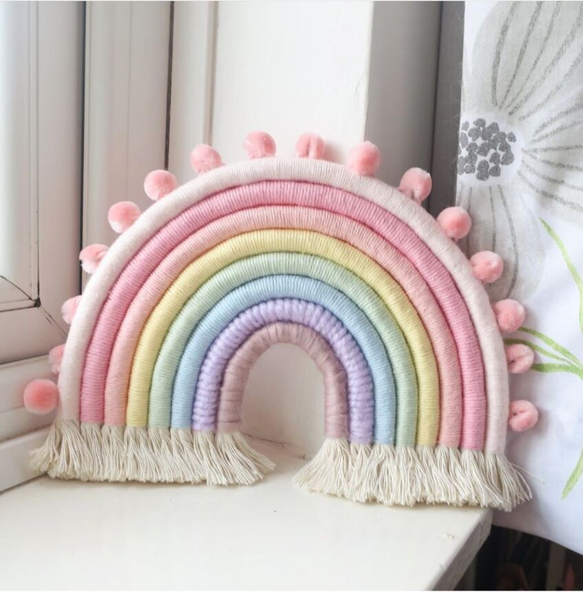 Ins Nordic Style Woven Colorful Tapestry Rainbow Home Wall Hanging Children Girls Room Decorations Baby Photography Props