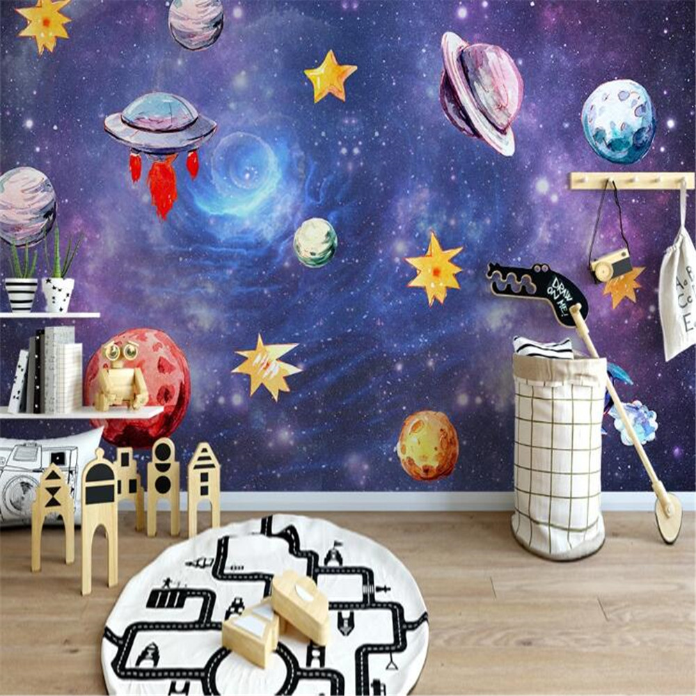 Milofi Nordic Hand Painted Space Universe Children's Room Background Wall Painting Wallpaper
