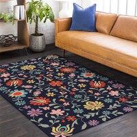 Tapetes para sala de estar fundo azul flor padrão engrossado tapete tapetes para crianças quartos nordic decoração casa do bebê