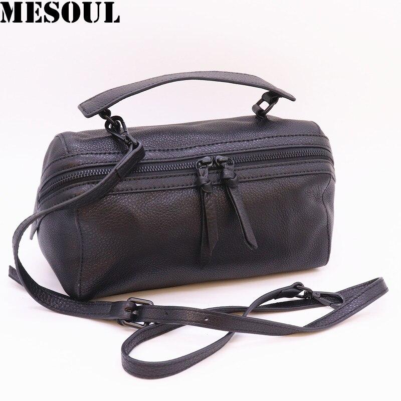 Mesoul 100% sac à main en cuir véritable femmes sac à bandoulière Portable femme mode sacs à bandoulière dames fermeture éclair petit sac fourre-tout sac à main
