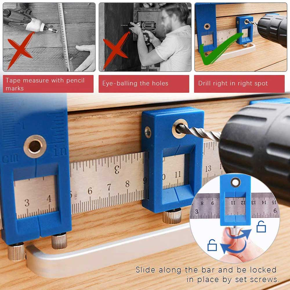 Furniture Adjustable Drilling Dowelling Hole Saw Locator Woodworking Joinery Hand Tool Multi-function Drill Punch Locator