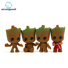 Strongwell Baby Groot Figurine Doll Model Tree Man Marvel Guardians The Galaxy Avengers Cake Decoration Kids Toy Cartoon