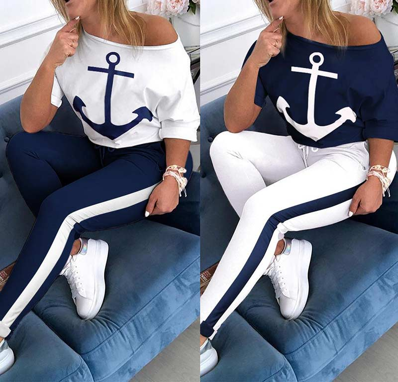 Plus Size Two Piece Set Tracksuit Women Boat Anchor Print 2 Piece Set Top And Pants Femme Clothes Elastic Waist Long Pants Set