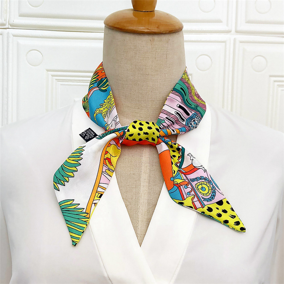 2020 Spring Design Leopard Skinny Scarf Women Luxury Brand Horse Bag Scarves Hair Neck Silk Scarf For Ladies Foulard Headband