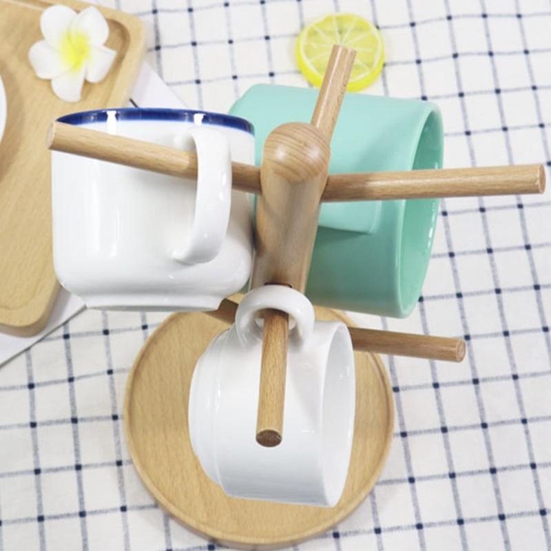 Mug Rack Tree Organic Bamboo Mug Holder Coffee Cup Dryer Mug Stand with 6 Hooks