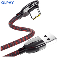 OLPAY 90 degree USB C line fast charger 3A Type C curved line charging Android mobile phone data line nylon game line
