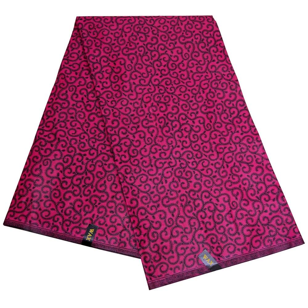 African Dashiki Wax Fabric Curved Line Floral Print Fuchsia Truly Wax Fabric