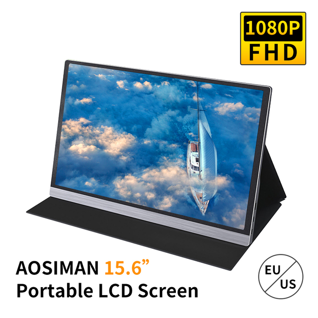 AOSIMAN Portable 15.6inch 1080P LCD Screen 47% NSTC 16.7 Million Colors Gaming Monitor Portable  Display IPS Panel Fast Response