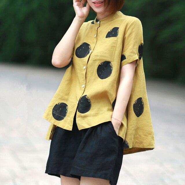 Women Fashion Elegant Casual Look Shirt Female Tops Cute Polka Dot Print Weekend Blouse Summer Single Breasted Shirt and Blouse 1