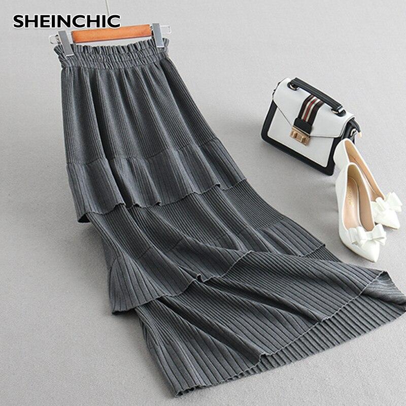 Vintage Black/Gray/Brown Women Long Skirt Elegant Ruffles Elastic Waist High Quality Knitted Skirt For Female New 2020 Saia