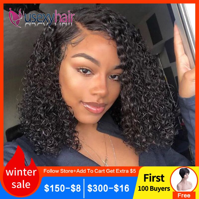 13x4 Ombre Color Short Curly Lace Front Human Hair Wigs With Baby Hair Pre Plucked Remy Brazilian Lace Bob Wigs 150% Densty