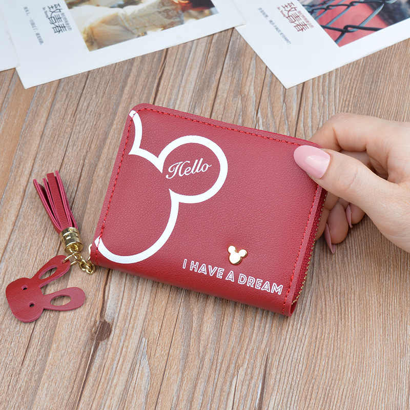 Disney mickey mouse pequena carteira senhora curto zíper borla chave moeda bolsa estudante pequeno mini carteira minnie titular do cartão embreagem