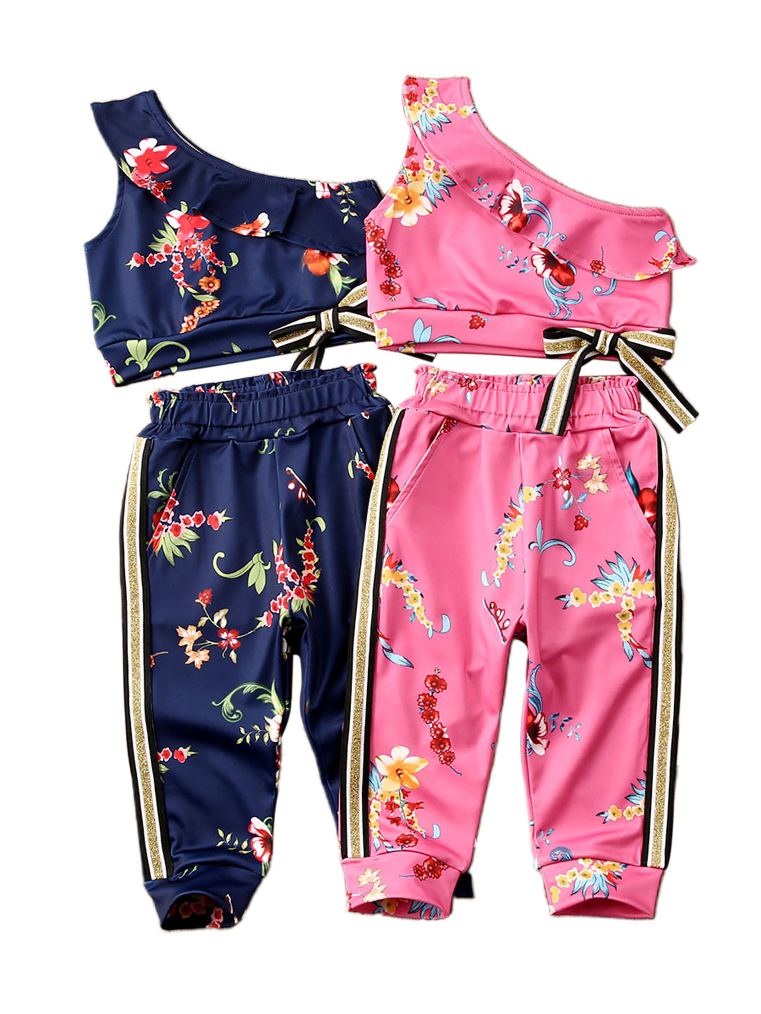 Fashion Infant Baby Girls 1T-6T Clothes Sets Flowers Print One Shoulder Tops+Casual Long Pants 2pcs
