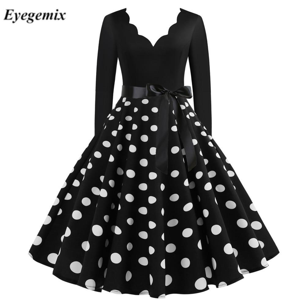 Новое Женское платье с длинным рукавом в винтажном стиле; С узором в горошек, платье в стиле пин-ап в готическом стиле зимние День Святого Ва...