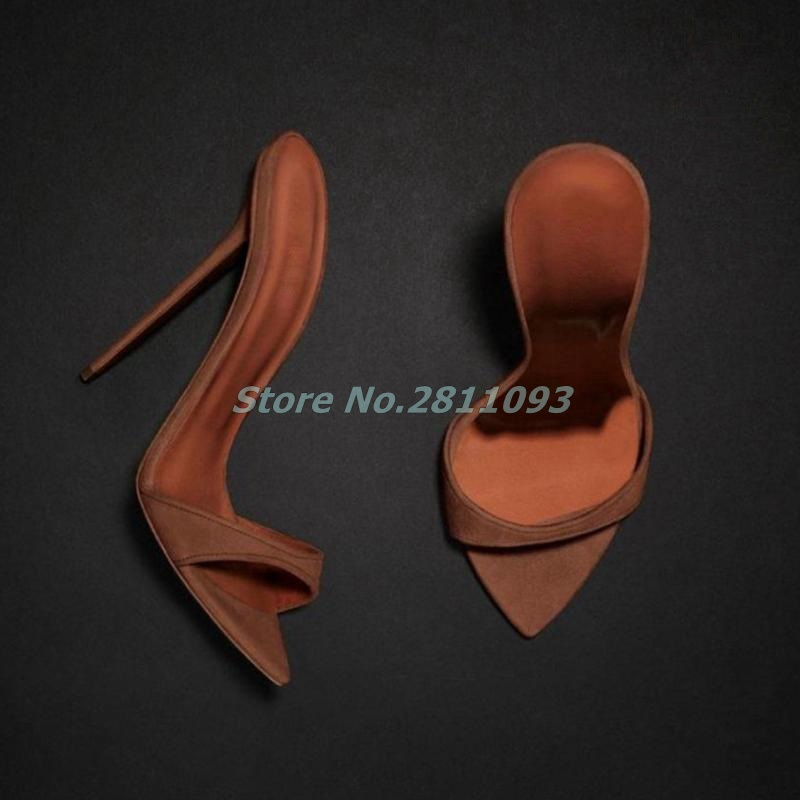 Suede Brown Sexy Pointed Toe Slippers Dress Stiletto Heel Slip On Open Toe Runway Ladies Shoes Thin High Heel Slides Loafer