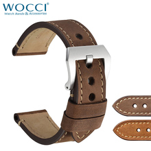 WOCCI Watch Bracelet Strap 18mm 20mm 22mm 24mm Vintage Saddle Style Crazy Horse Leather Band for Seiko 5  Mens