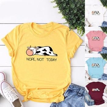 Nope Not Today Letter Graphics Women T Shirt Milk Cow Print T-Shirt Cartoon Female Short Sleeve Tops Tshirts Harajuku Tshirt Tee